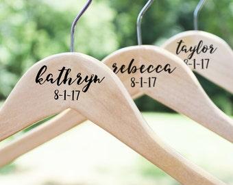 Personalized Bridesmaid Hangers, Wooden Wedding Hangers, Bride Hanger, Wedding Dress Hanger