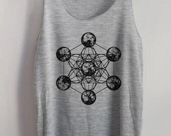 Metatron Cube Shirt Moon Vintage Tank Top Art  T-Shirt Shirt Women Shirt  Women T-Shirt Tunic Top Vest Size S,M,L