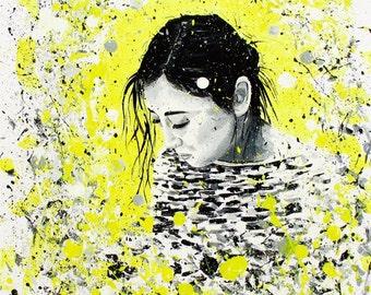 Until we meet again. Painting, splash, good bye, girl.