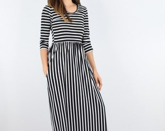 Striped maxi dress with side pocket S to XL