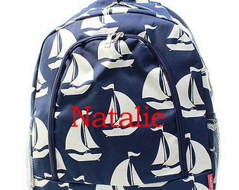 Personalized Navy Blue Sailboat Print Backpack * Custom Embroidered Boats Book Bag with Monogram or Name * Bookbag * Monogrammed Gift