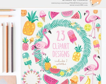 GET 3 FOR 2. Summer Tropical Clipart: Flamingo & Food. Watercolor Clipart. Pineapple, Ice Cream, Watermelon, Wreaths, Popsicle, Lime. CA019.