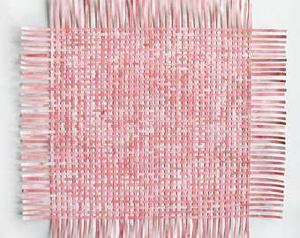 Pink Paper Weaving- Original Mixed Media- 23 Inches Square- Large Pink Art- Abstract Wall Art- Woven Papers