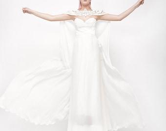 Long Wedding Cape, bridal cape, bridal accessories, wedding dress accessories, wedding dress alternative, detachable train, chiffon cape