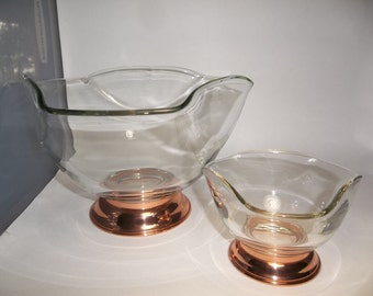 Vintage Glass and Copper Chip and Dip Set