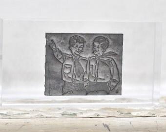 Vintage Metal Printing Plate On Lucite Block - Boys