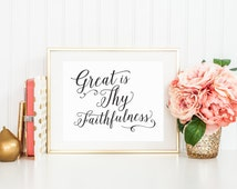 Great is Thy Faithfulness Printable Art Print 8x10 Black and White Calligraphy, Bible Verse Printable, Scripture Print, Christian Wall Art