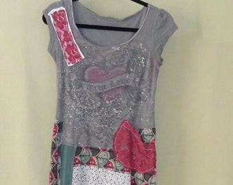 XS XSmall Upcycled Summer Tunic Boho Chic Artsy Repurposed Eco-Friendly Funky Top
