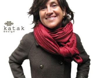 wool blanket scarf, woven wool maroon scarf, winter scarf for woman