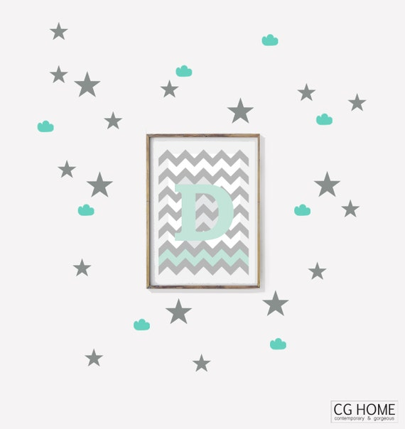 MINT Clouds Stars Decals STAR Wallpaper Cute Nursery Stickers CLOUD wallpaper Decoration for kids Customized wall decal color pattern CGhome