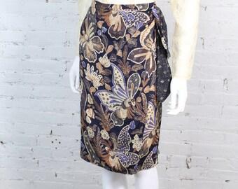 1980s Christian Dior Silk Skirt wrap butterfly print earth tones 8