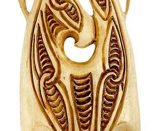 Hand Carved Bone XXL Maori Manaia with Scrimshaw