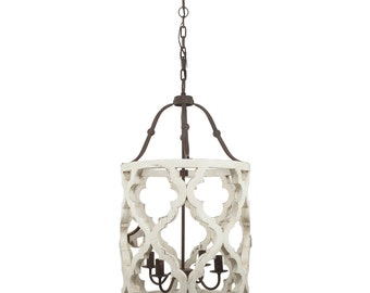 4 Light Quatrefoil White Distressed Chandelier Painted/French Country Lighting/Shabby Chic Lighting/Farmhouse Lighting/Chandelier/Farmhouse