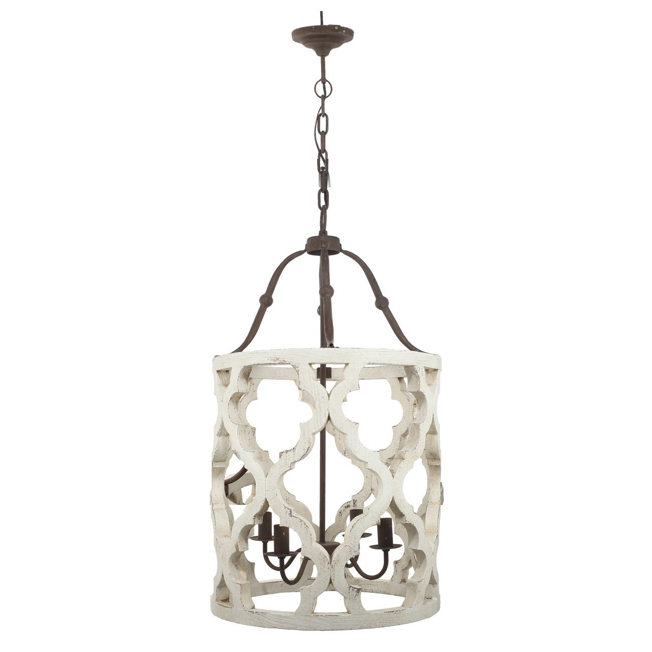 Distressed Wood Chandelier: 4 Light Quatrefoil White Distressed Chandelier Painted/French
