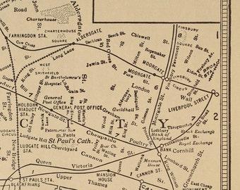 London Map London Vintage England 1930s Original Railway