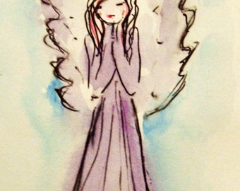 Guardian Angel Painting, Original Watercolor Painting, Small Paintings, Angel Art, Spiritual art, Gift Idea