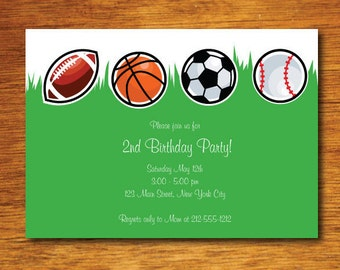 Sports Themed Birthday Invitation- Sports Birthday Party Invitation- Sports Party Invitation- Sports Theme