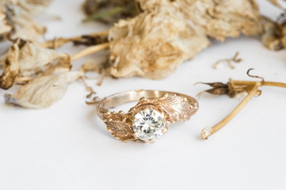 14k gold moissanite engagement ring, twig nature engagement ring, gold leaf engagement ring