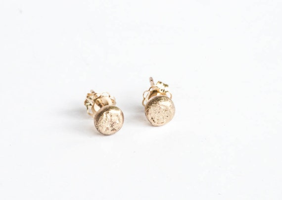 14k solid gold stud earrings, dot earrings, bead gold stud earrings