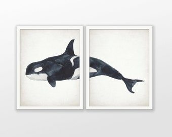 killer whale print set of 2 killer whale watercolor painting print orca whale bathroom