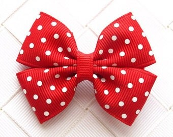 Red Polka Dot Hair Bow ~ 2.25 Inch Hair Bow for Baby ~ Small Hair Accessory ~ Barrette ~ Kids Snap Clip ~ Red Polka Dot Bow ~ Girl Hair Clip