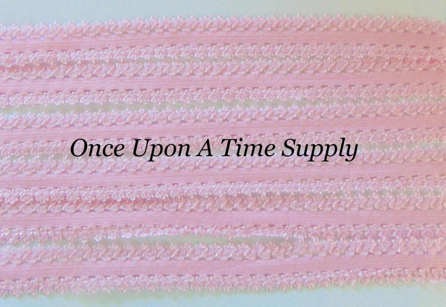 Light Pink Picot Edge Lace Elastic For Headbands 5 Yards