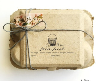 custom rubber stamp - homestead no. 12 - hand illustrated - egg basket - fresh eggs - just laid - egg carton stamp - personalized - coop