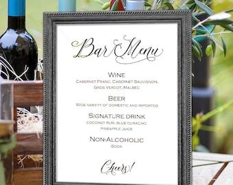 Bar menu sign, Printable bar menu, wedding signs, template, diy,   instant download, signs for wedding, S5