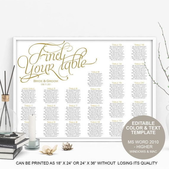 Find Your Table Seating Chart Printable Wedding Seating