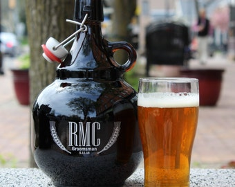 Beer Growler with Flip Top **Personalized**High Quality**Hand Engraved* *Italian Glass**