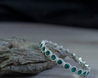 White Gold Eternity ring set with Blue Green Emerald - Eternity emerald band - may birthstone