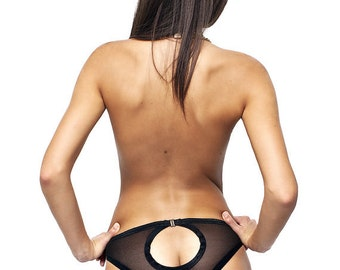 Sheer Panties / Erotic Lingerie /Open Back Panties / Cheeky Panties /  Black Lace Cheekies / Lace Undies / Bridal Panties / Cheekie Panties