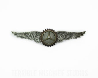 """Steampunk """"Co-Pilot"""" Brass and and Copper Wings Pin"""