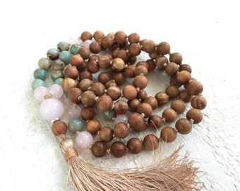 African Opal And Sandalwood Mala Beads, Knotted Sandalwood and Rose Quartz Mala Necklace, Handmade 108 Bead Mala Necklace, Mantra Beads