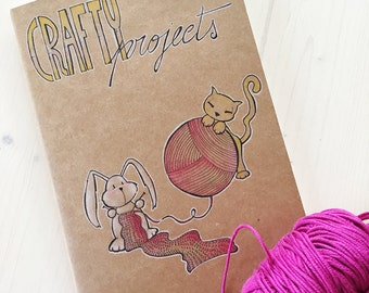 One of a Kind Notebook for your Crafty Projects with soft illustrated cover and white pages