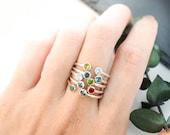 30% OFF!  Dual Birthstone Ring - Couples Birthstone Ring - Dainty Birthstone Ring - Personalized Ring - Custom Birthstone Ring - Mom Gifts