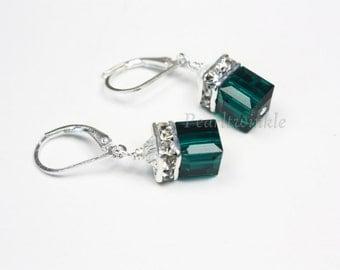 Emerald Green Swarovski Crystal Earrings, Green Swarovski Earrings, Cube Crystal, gift for her under 30, Mother's Day, Emerald Swarovski
