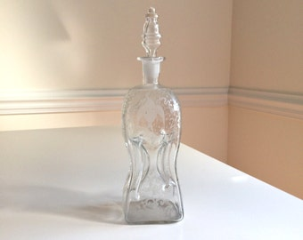 Antique Decanter Clear Glass Pinched Dutch Pinch Hand Blown Glass Etched Windmills and Birds Antique Bottle Hourglass Let's All Say Wow