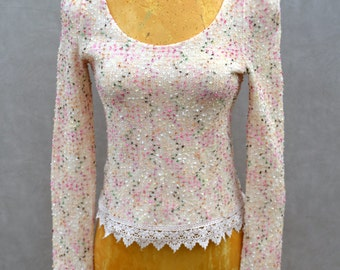 Multi Color Sweater with Lace Bottom Detail
