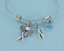 Little Girl's Lacrosse Bangle Bracelet in silver tones.   Little girls jewelry.  Little girls bracelet.  Initial N.  Lacrosse.