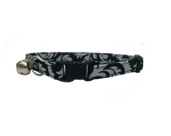 Black and Grey Damask Cat or Kitten Breakaway Safety Collar