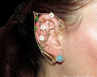 Always in Bloom elven ears, blooming elf ears, dryad ears, elf ear cuff, elf ear wrap, Cosplay, elvish jewelry, wood elf ears