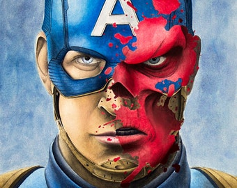 Captain America/ Red Skull Art Print