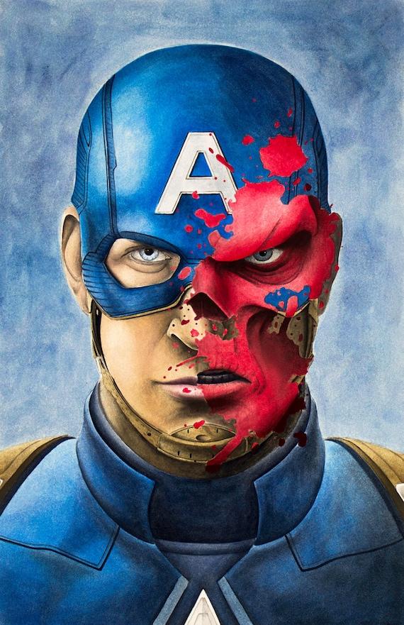 Captain America Red Skull Art