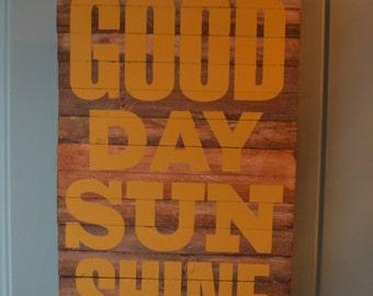 good day sunshine handcrafted vintage look wood sign looks great on a front door is indoor/outdoor