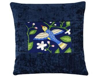 """Teal Bird Pillow Cover, Bird and Floral Throw Pillow, Teal Velvet Cushion, Folk Bird Cushion Cover 16x16"""""""