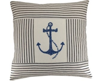 Striped Anchor Cushion Cover, Nautical Cushion, Maritime cushion, Anchor pillow, Blue & White Pillow Cover. 16x16 inches