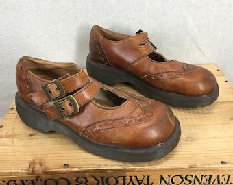 Vintage Dr Martens Brown Leather Strap Mary Jane Sandals Sz 8US/6UK
