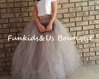 Grey  Tulle Skirt Sewn Tutu-  Adult Full Length Tulle Wedding Skirt Tulle - Engagement Photos Bachelorette Tutu
