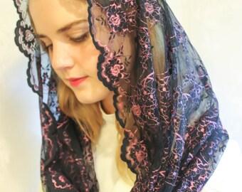 Evintage Veils~ Salve Regina Black & Rose Lace Chapel Veil Mantilla Infinity Latin Mass